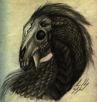 Realistic Skulled Horse-Dragon Sketch by LostSoul-Mumei