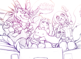 videogame party (sketch) by RoksanaTH