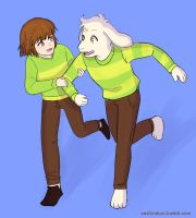 Chara And Asriel Playing by atomicheartlight