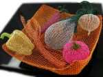 Wire crochet bowl with veggies by CatsWire