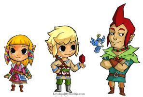 LoZ:SS - Trio in WW style by KeyshaKitty