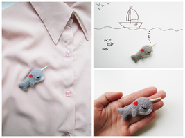 Romantic Narwhal Brooch by mar-rie