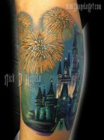 Disney Castle and Fireworks Tattpp by NickDAngeloTattoos