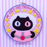Steven Universe Cookie Cat Embroidery Hoop by iggystarpup