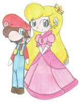 Mario and Peach by Crazy-Drawer101