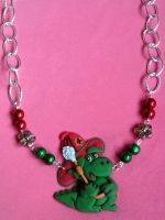 Necklace with Grisu', flowers and pearls fimo by bimbalove81