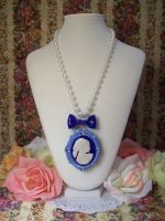 Blue Cameo Necklace by lessthan3chrissy