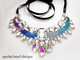 Custom Colored Peacock Theme Rhinestone Necklace by Natalie526