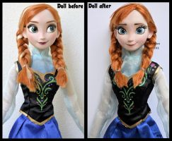 repainted ooak singing anna doll from frozen. by verirrtesIrrlicht