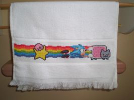 Nyan Cat, Sonic, Kirby Cross Stitch Towel by ChandrakantaAvani