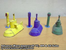 Papercraft Advance Wars Subs (YC+BM+GE) by ninjatoespapercraft