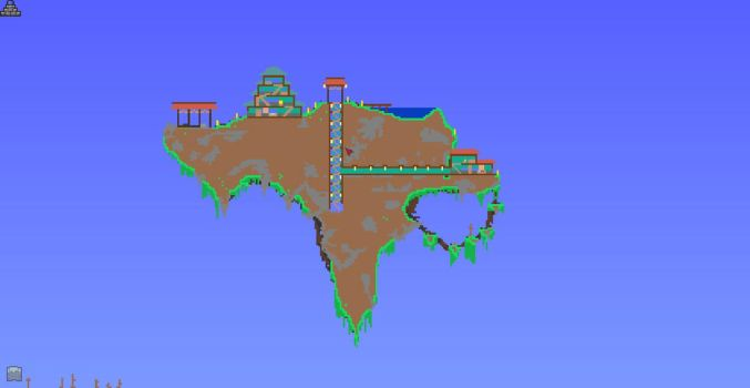 Giant Floating Island with Dynasty Village by XploSlime7