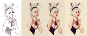Bunny Girl Riven - Process by tsuaii