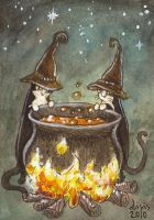 Cauldron Cats ACEO by liselotte-eriksson