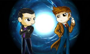 Chibi 9th and 10th doctor by DLowell