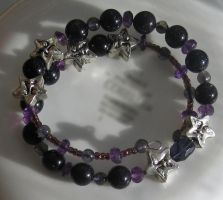 Amethyst Iolite Blue Goldstone Coil Bracelet 3 by Windthin
