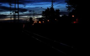 Railroad at Night by silence2