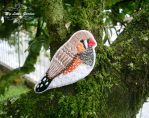The Zebra Finch bird  brooch by My--Little--Garden