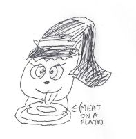 Kitty Katswell licking a steak on a plate by dth1971