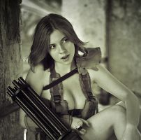 Polina with minigun #4 by ohlopkov