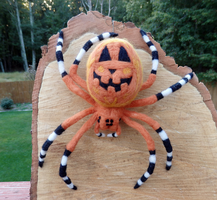 Pumpkin Orbweaver Needle Felted Wall Decor by DancingVulture
