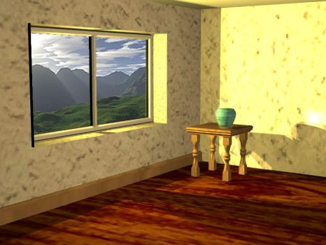 Room with hills by aquifer
