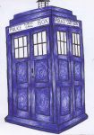 TARDIS Ballpoint Pen Drawing by hamsternio