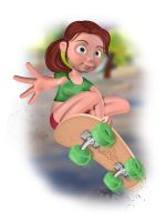 Girl with skateboard by snikers15