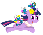 Twilight Sparkle and the Wahine Smurfs (Plain) by NewportMuse