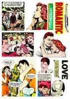 Romance Comics - Digital Collage Sheet by FidgetResources