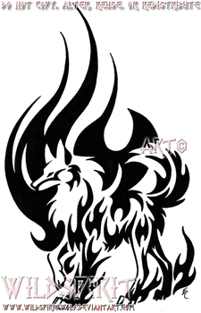 Flame Wolf Tribal Tattoo by WildSpiritWolf