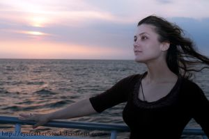 sunset on the whale watch boat by eyefeather-stock