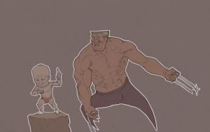 Wolverine VS old man by shabisidai