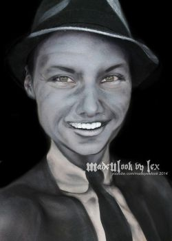 Frank Sinatra Black and White Tribute Body Paint by MadeULookbylex