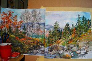 autumn in mountains process by DariaGALLERY