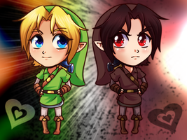 Chibi Link and Dark Link by HylianGuardians
