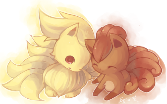 ninetales and vulpix by Effier-sxy