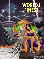 Powergirl and Huntress in Classic Scifi Setting by ryuzo