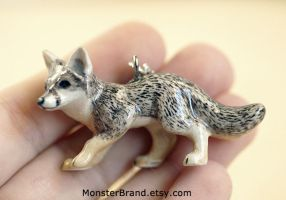 Gray Fox Necklace by MonsterBrandCrafts