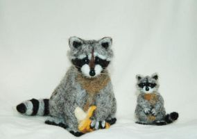 ooak Needle Felted Raccoon 2 by amber-rose-creations