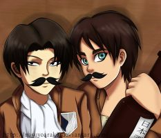 Levi and  Eren Mustachioed by MasuyoAraki