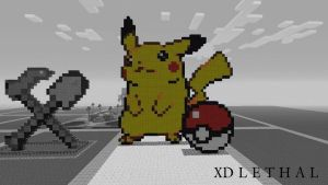 Minecraft pikachu and pokeball by XDLETHAL