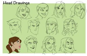 Head Drawings Page2 by EmpressFunk