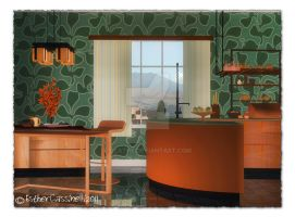 green and orange cooking room by Ecathe