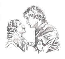 Han and Leia Sketch by SSwanger