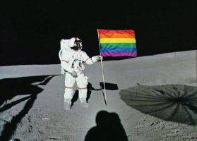 Gay flag on the moon by poleev