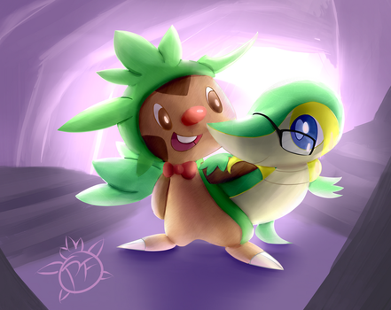 Chespin and Snivy by PhoenixFire-Art