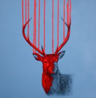 'Wild Stag Triptych'- detail by LouiseMcNaught