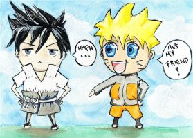 Naruto and Sasuke Chibi Reboot by HarlequinChild
