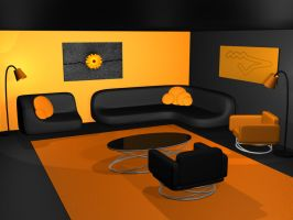 Black And Orange Room by Reapsert